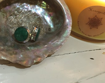 Carved green gems handmade sterling silver earrings