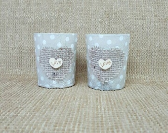 Rustic, shabby chic candles/ votive/ candle holders. Polka dots, hessian embellishment