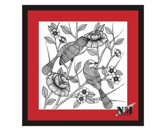 Love Birds on a Floral Tree- 9x9inch Square Digital Print