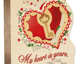 Greeting card Wood - key to my heart