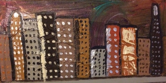 "Cosmic city scene""  10 x 20""   Gallery wrapped."