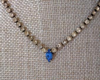 SUMMER CLEARANCE: Vintage Necklace, Blue Rhinestone, Clear Rhinestones, Formal, Bridal, Something Blue, Wedding, Evening, Prom, Ca. 1970s