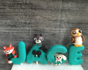 Fondant woodland animals name cake toppers