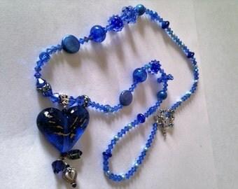 Blue-bangled Heart-Handmade Lampwork Necklace