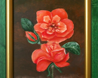 Blooming roses - oil painting