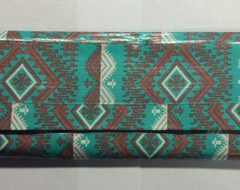 Teal Aztec Duct Tape Women's Wallet