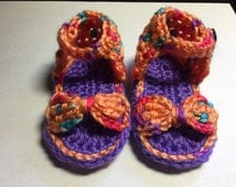 3-6 mos. girls bow peep toe, hand crocheted sandal. Coral, purple, blue and pink tones
