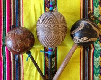 Peruvian Ceremonial Gourd Rattle
