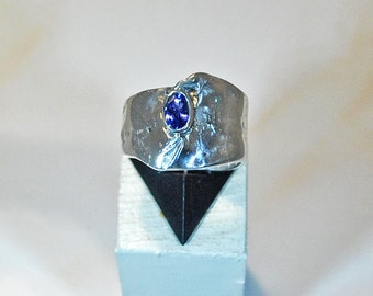 Sterling silver ring with tanzanite setting