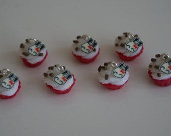 Miniature Cupcake Pendant with Chocolate Sprinkles and a Bunny
