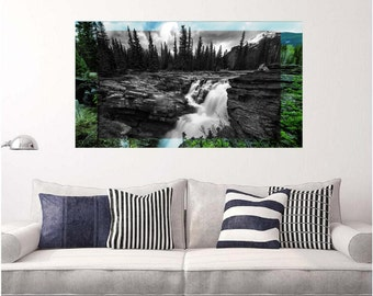 Athabasca Falls  Two Toned Exposure Mural Panoramic Wall Decal Sticker Removable Reusable Jasper National Park Canada Waterfall Home Decor