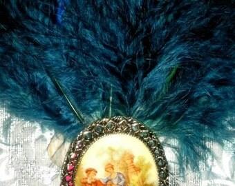Love story fascinator pin
