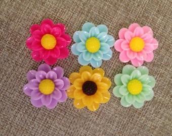 6 flower cabochon