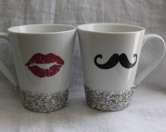 He/She coffee mug pair