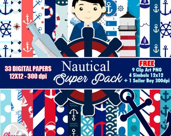Nautical Sailor Boy Digital Papers, Free Sailor Clip art, Digital Scrapbooking, Nautical Clipart, scrapbook papers