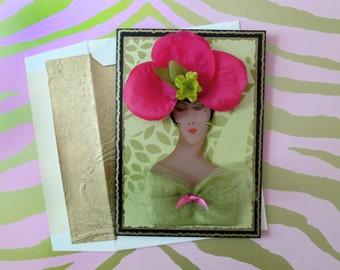 AKA card, fashion card,diva card,Alpha Kappa Alpha,pink and green card,AKA lady card, couture card,African American card,girlfriend card,