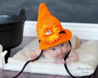 Newborn Crochet Witch Hat for 1st Halloween, Photography Prop, Orange Crochet Hat, Baby Girl Witch Hat, Halloween Photo Prop