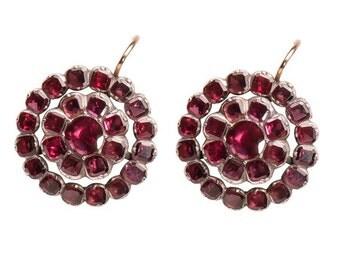 Georgian Garnet Drop Earrings - Antique 1780's