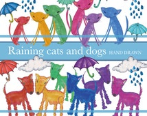 Raining cats and dogs clipart Illustrations - dogs, cats, clouds, rain, umbrellas, DIY collage sheet, scrapbooking