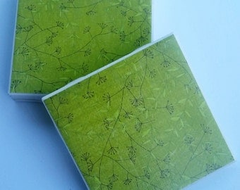 light olive green branch design ceramic coasters