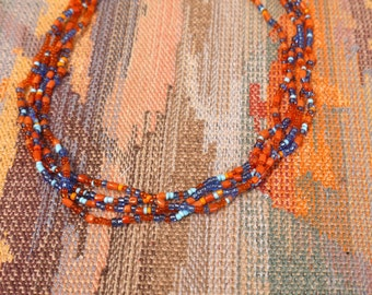 hand made multicolor seed beaded necklace boho gypsy hippie multi strand necklace gift for women gifts for her gift Ideas