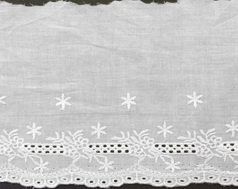 15 cm (6 in) Wide_  Broderie Anglaise  on Swiss Voile Lace, Imported.