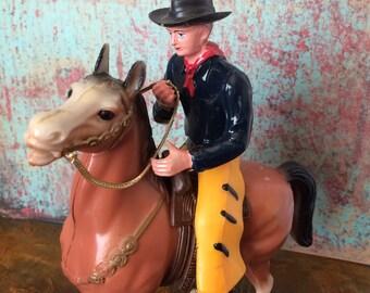 Hi-Ho Silver Vintage Cowboy On Horse, Vintage Plastic Cowboy