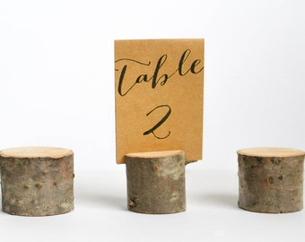 Wood Wedding Table Number Holders - Set of 6, Sign Holders, Picture Holders, Place Holders, Name Holders, Natural Fir