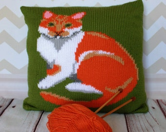 Knitting Pattern PDF Download - Ginger & White Cat Pet Portrait Pillow Cushion Cover
