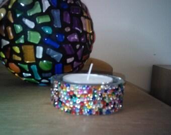 Large Rhinestone Encrusted Multicoloured Tealight Holder