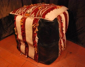 Moroccan Black Leather Pouffe, Square Kilim Rug Pouf, Handmade, Ottoman, Footstool, Floor Pillow, Leather Seat, Leather Furniture, Art Deco