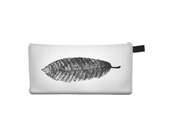 Leaf Pouch, Printed Pencil Case, Zipper Coin Purse, Small Phone Makeup Cosmetic Jewelry Bag, Gift for Her, Stocking Stuffer, Black White