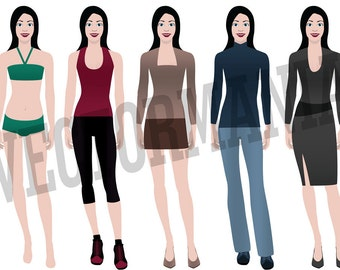 Clip art-Vector-women with different types of clothes-for personal or commercial use