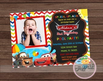 Cars Pool Party Invitation with Photo, Cars Birthday Invitation with Photo, Cars Pool Party Invitation, Cars Birthday, Digital File
