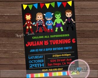 Avengers Party Invitation, Avengers Birthday Invitation, Avengers Birthday Party Invitation, Super Hero Chalk Invitation, Digital File.
