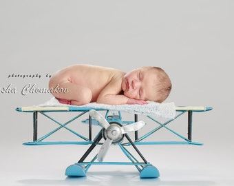 Digital backdrop background blue airplane  newborn baby boy or girl aviator plane
