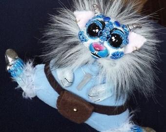 Sodalite, OOAK monster imp art doll