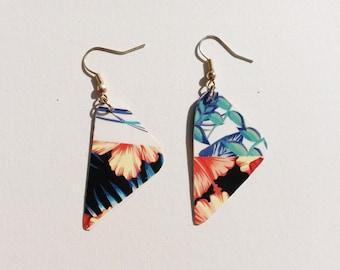 Handmade earrings flower retro