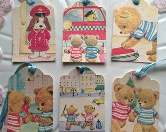 Handmade Gift Tag/Party Favor Tag Set of 6-Illustrations from vintage children's book The Twin Teddy Bears, City Scene Set