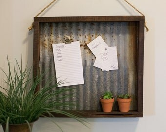 Reclaimed Cedar & Tin Magnetic Memo Board with Jute Hanger