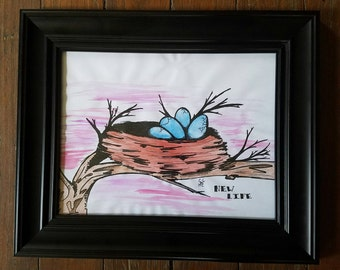 "8.5""x11"" Handmade ORIGINAL Illustration inspired by children's book art done on laminated cardstock."