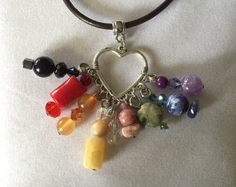 Multicolored Gemstone Heart Necklace