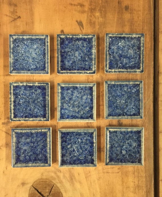 9 Pieces Bright Blue Crackled Glass And Ceramic Mosaic Tile: bright blue tile