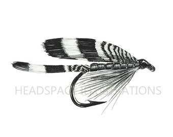 Fishing Fly with Hand Painted Gold - Ink and Watercolor Pencil Art Print by Headspace Illustrations