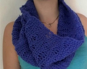 Winter neck warmer scarf tube, made grilled, blue color