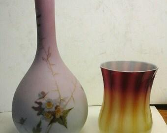 MT. WASHINGTON decorated art glass vase
