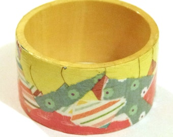 Beautiful handmade wooden decoupage bangle, pink, blue, yellow