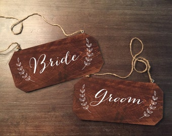 Wedding Chair Signs - Bride and Groom Rustic Chair Signs