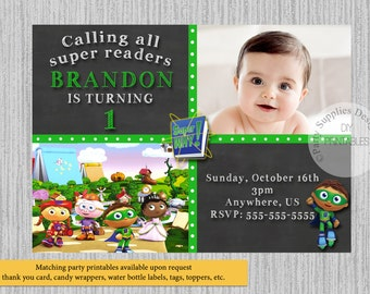 Super Why Birthday Invitations, Super Readers Birthday Party Invitations, DIY Printable, Super Readers Party Supplies, Kids Invitations