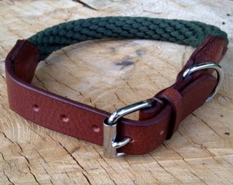 Hand Made Soft Leather / Rope Dog Collar Strong Green